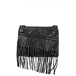 Quiz - Black PU Slant Zip Fringe Bag