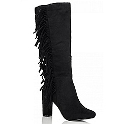 Quiz - Black Faux Suade Long Boots