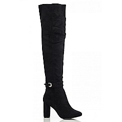 Quiz - Black Faux Suede High Leg Boots