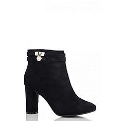 Quiz - Black diamante strap ankle boots
