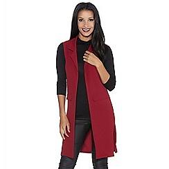 Quiz - Berry crepe lapel front waistcoat