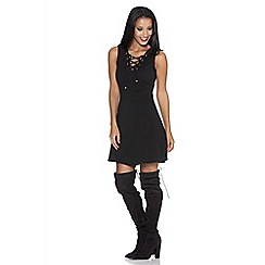 Quiz - Black crepe eyelet panel skater dress