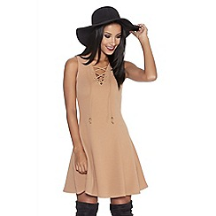Quiz - Camel crepe eyelet panel skater dress