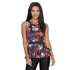Quiz - Black rose print peplum top