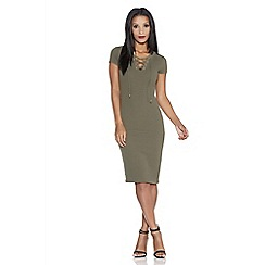 Quiz - Khaki crepe eyelet bodycon dress