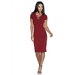 Quiz - Berry crepe eyelet bodycon dress