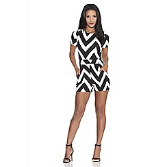 Quiz - Cream and black crepe chevron print playsuit