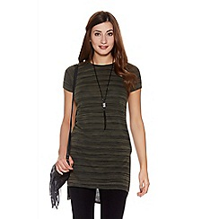 Quiz - Khaki light knit necklace top