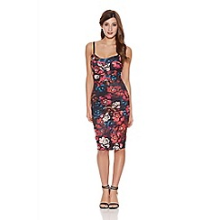 Quiz - Black rose print midi dress