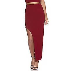 Quiz - Berry crepe asymmetric midi skirt