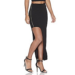 Quiz - Black crepe asymmetric midi skirt