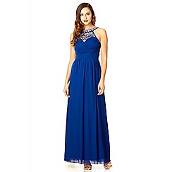 Quiz - Royal blue sequin pleat detail maxi dress