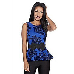 Quiz - Royal blue flock bow peplum top