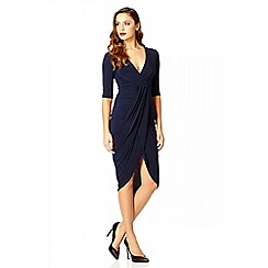 Quiz - Navy slinky wrap 3/4 sleeve dress