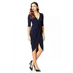 Quiz - Navy slinky wrap 3/4 sleeve dress