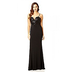 Quiz - Black Sequin Sweetheart Maxi Dress