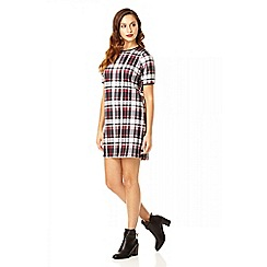 Quiz - Check print crepe 1/2 sleeve tunic dress