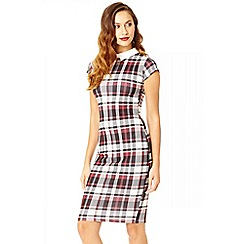 Quiz - Check print crepe collar midi dress