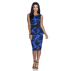Quiz - Royal blue flower print peplum dress