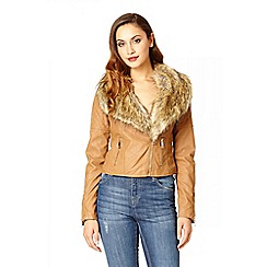 Quiz - Tan pu faux collar fur biker jacket