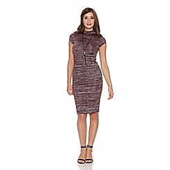 Quiz - Wine and black knit turtle neck necklace dress