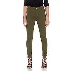 Quiz - Khaki Denim Ripped Skinny Jeans