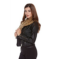 Quiz - Black pu faux collar fur biker jacket