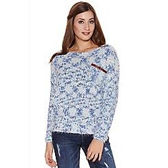 Quiz - Blue popcorn knit pocket jumper
