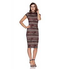 Quiz - Wine light knit zig zag turtle neck bodycon dress