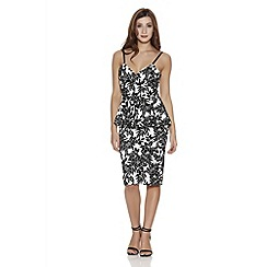Quiz - Cream and black flock print peplum bodycon dress