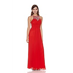 Quiz - Red sequin pleat detail maxi dress