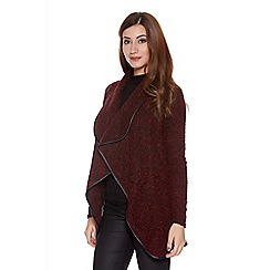 Quiz - Wine and black waterfall knit cardigan
