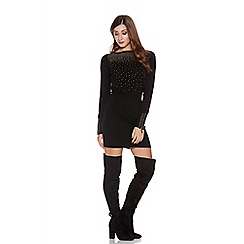 Quiz - Black and gold zip stud knit dress