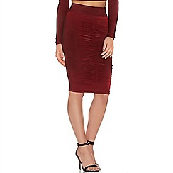 Quiz - Wine slinky ruched skirt