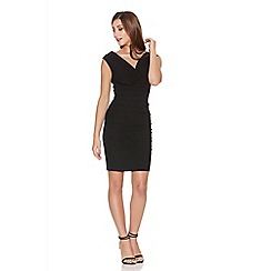 Quiz - Black wrap ruched bodycon dress