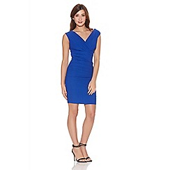 Quiz - Blue wrap ruched bodycon dress