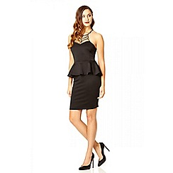 Quiz - Black and gold neck trim peplum dress