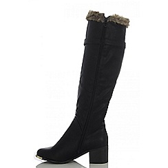 Quiz - Black fur top long boot