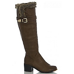 Quiz - Tan fur top long boot