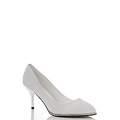 Quiz - Silver shimmer diamante rim shoes