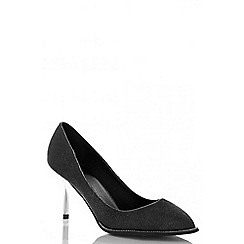 Quiz - Black shimmer diamante rim shoes