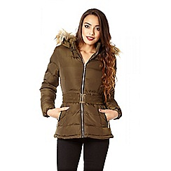 Quiz - Khaki padded faux fur hood jacket