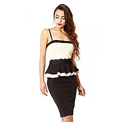 Quiz - Black and stone double peplum bodycon dress