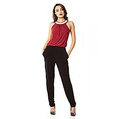 Quiz - Wine diamante collar jumpsuit