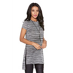 Quiz - Grey stripe dye light knit top