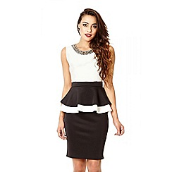 Quiz - Cream And Black Peplum Diamante Midi Dress