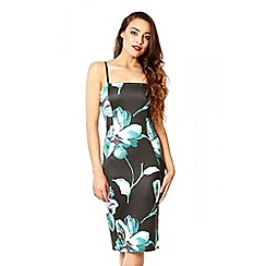 Quiz - Black and green floral print bodycon dress