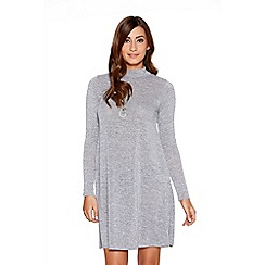 Quiz - Grey turtle neck necklace swing dress
