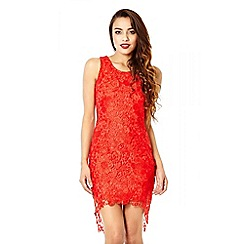 Quiz - Red Sequin Dip Hem Lace Dress