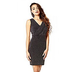 Quiz - Black Brillo Wrap Front Bodycon Dress